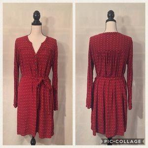 GAP red orange print soft henley belted shirtdress